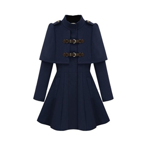 Caped Navy Blue Coat