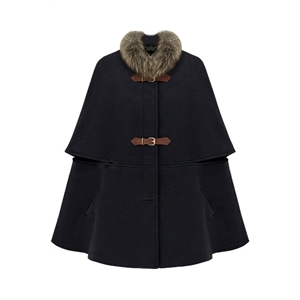 Fitted Big Hasps Black Cape Coat