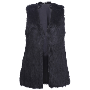 Brief Black Faux Fur Gilet