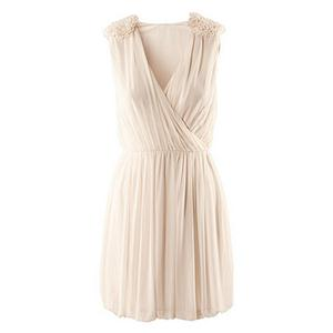 Flower Embellished Crossed Elastic Pleated Cream Dress