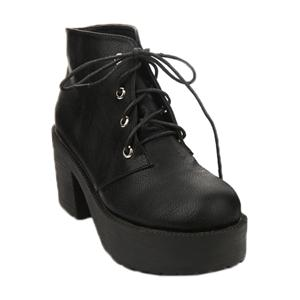 Tied Black Platform Ankle Boots