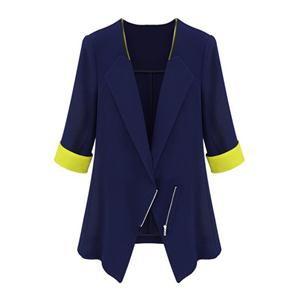 Miranda Kerr Dual-tone Zippered Slim Navy-blue Blazer