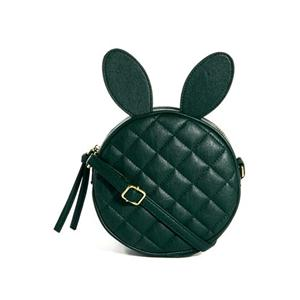 Diamond Shape Rabbit Hair Green Bag