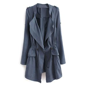 Thin Lapel Self-tied Elastic Blue Suede Trench Coat