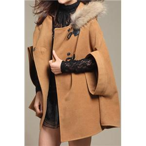 Hooded Batwing Sleeves Buttoned Loose Camel Cape