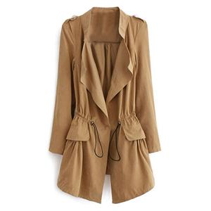 Thin Lapel Selt-tied Elastic Khaki  Suede Trench Coat