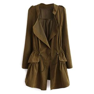 Thin Lapel Self-tied Elastic Brown Suede Trench Coat