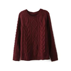 Diamond Cable Knit Burgundy Jumper