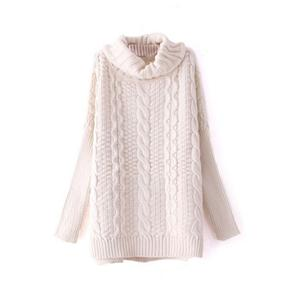 Chunky Cable Knit Turtleneck White Jumper