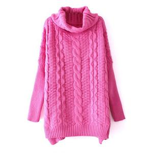 Chunky Cable Knit Turtleneck Pink Jumper