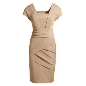 Crossed Zippered Square Neck Nude Slim Dress
