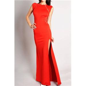 Bridal party dress Cut-out Split Lace Red Maxi Dress