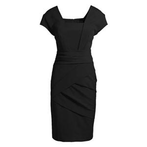 Crossed Zippered Square Neck Black Slim Dress