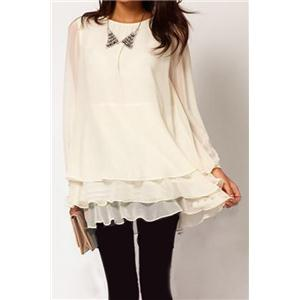 Beige Long Sleeve Cascading Ruffle Chiffon Dress