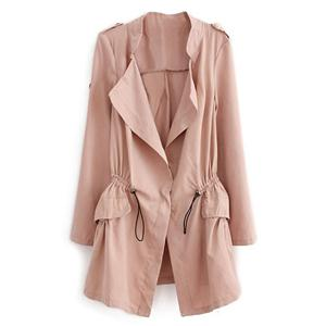 Thin Lapel Selt-tied Elastic Pink Suede Trench Coat