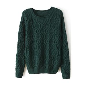 Chunky Diamond Knitted Dark Green Jumper