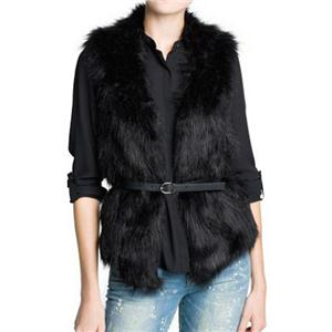 Faux Fur Belted Sleeveless Black Vest