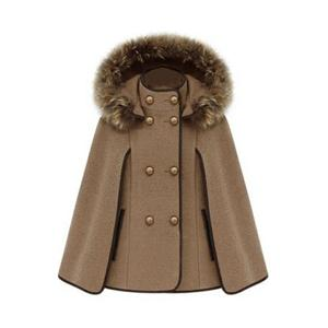 Double Breasted Camel Cape Coat