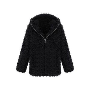Faux Fur Hooded Long-sleeved Black Coat