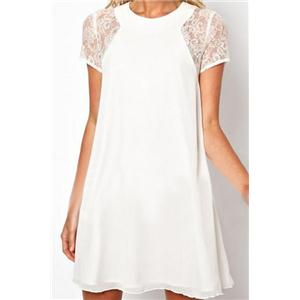Lace Buttoned Short Sleeves White Dress