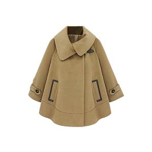 Batwing Long Sleeves Pocketed Camel Coat