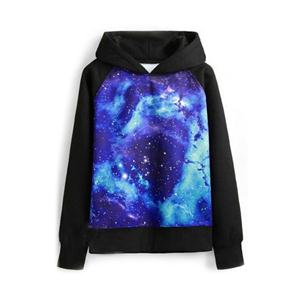 Galaxy Print Hooded Long Sleeves Blue Sweatshirt