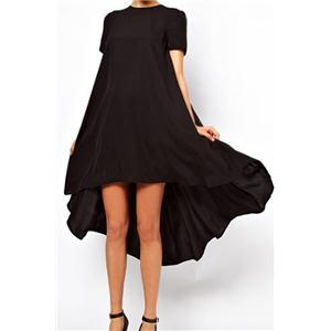 Asymmetric Pleated Sheer Black Dress