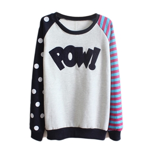 Color Block POW! Appliqued Blue Sweatshirt