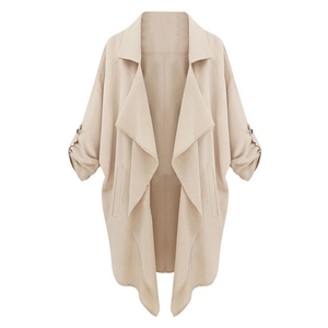 Asymmetric Camel Trench Coat