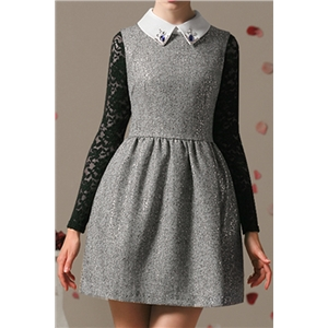 Sleeveless Beaded Embellishment Grey Dress