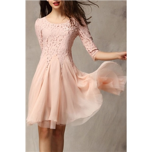 Flral Embroidered Layered Mesh Pink Dress