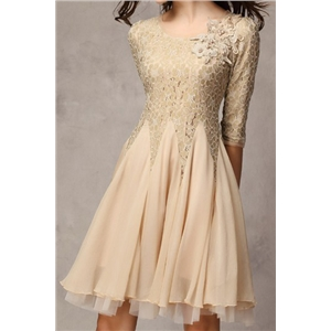 Flral Embroidered Layered Mesh Khaki Dress