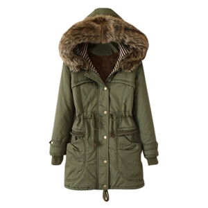 Pockets Hooded Drawstring Army Green Coat