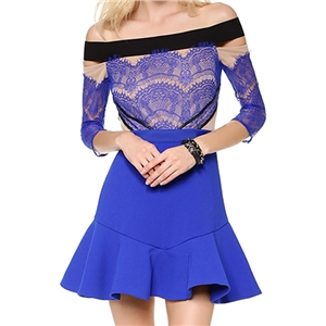 Bridal party dress Off-shoulder Lace Half Sleeves Blue Dress