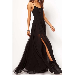 Double-layered Split Side Black Swing Maxi Dress