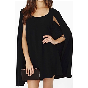 Asymmetric Black Sheer Cape Dress