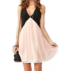 Cut-out V-neck Sleeveless Contrasting Pink Dress