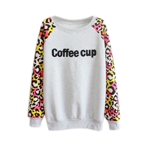 Letters and Leopard Print Gray Sweatshirt