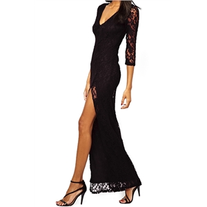 Split Front Hollow Lace V-neck Black Maxi Dress