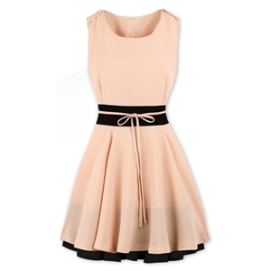 Color Block Self-tied Pleated Pink Pleated