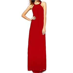 Bridal party dress Backless Crossed Straps Layered Red Maxi Dress