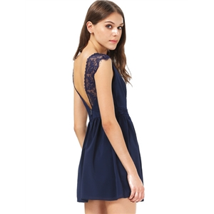 Blue Contrast Lace Backless Chiffon Dress