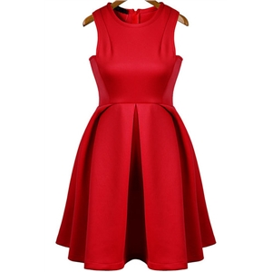 Red Round Neck Sleeveless Flare Pleated Skater Dress