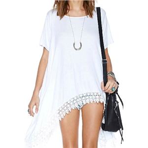 Oversized Asymmetric Lace Hem T-shirt