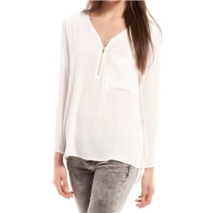 Pocketed Zippered Sheer White Blouse