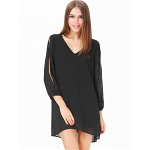 Black Split Sleeve V Neck Loose Dress