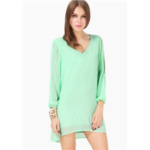 Mint Green Split Sleeve V Neck Loose Dress
