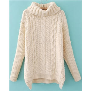 White High Neck Long Sleeve Cable Knit Sweater