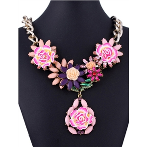 Pink Gemstone Flower Gold Chain Necklace