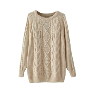 Twist Pattern Knitted Cream Jumper